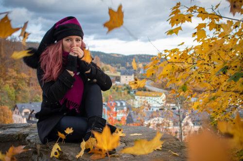 Mütze und Schal für den Herbst pink schwarz