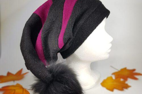 Zipfelmütze schwarz-pink mit Fellbommel