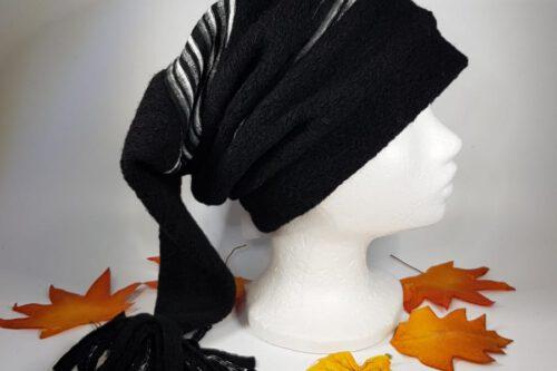 Zipfelmütze schwarz-graugestreift mit Quaste
