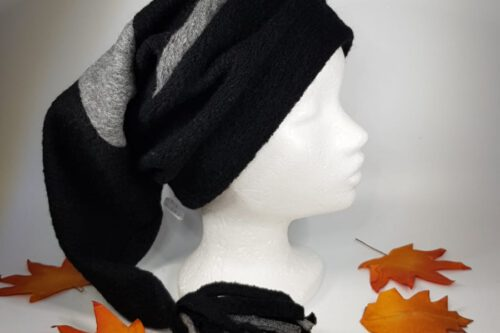 Zipfelmütze schwarz-grau mit Quaste