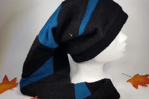 Zipfelmütze lang schwarz-blau mit Quaste
