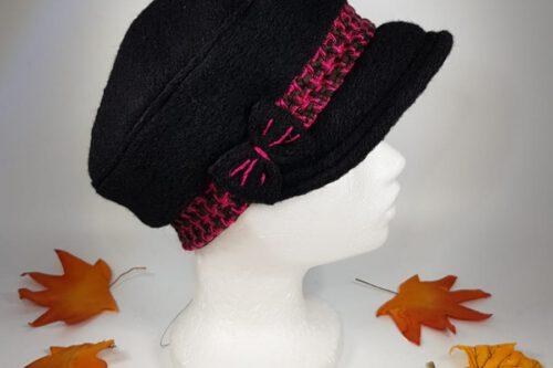 Dachmütze schwarz-pinkkarriert