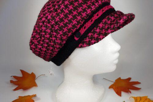 Dachmütze pink-schwarz karriert