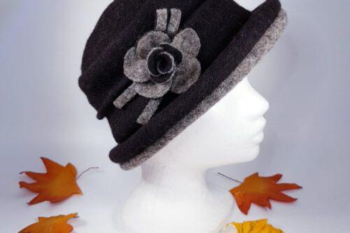 Hut mit Krempe dunkelgrau-hellgrau