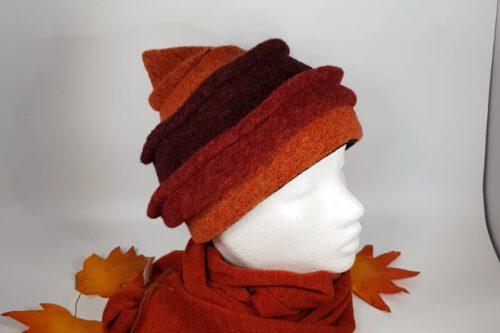 Zipfelmütze kurz orange-braun mit Schal