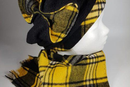 Mütze mit Schleife gelb-schwarz karriert